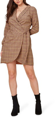 Lost + Wander Tumbleweed Plaid Long Sleeve Wrap Dress