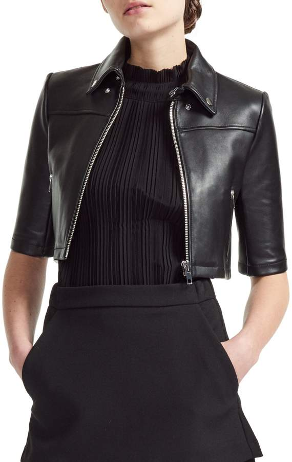 Maje Brittany Slim-Cut Cropped Leather Jacket