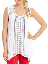Multiples Double V-Neck Solid Knit Sleeveless Lace Top