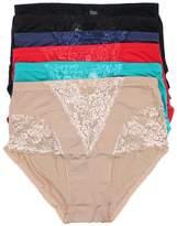 Americana Women's 6 Pack High Waist Full Coverage Brief Plus Size Underwears