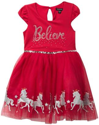 Zunie Believe Unicorn Border Dress (Little Girls)