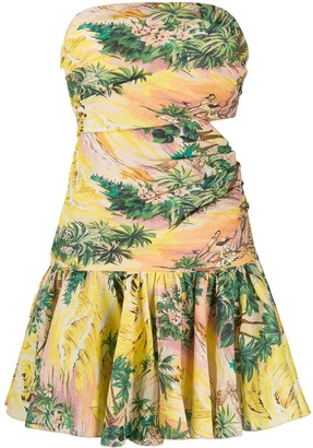 Zimmermann Strapless Tropical Print Mini Dress