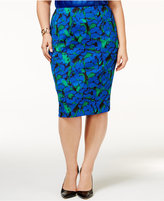 Kasper Plus Size Floral-Print Pencil Skirt