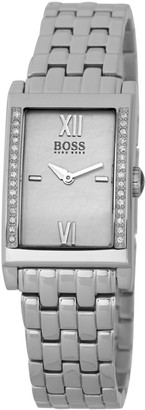 HUGO BOSS Ladies Quartz Watch with Mother Of Pearl Dial Analogue Display and Silver Stainless Steel Strap 1502177