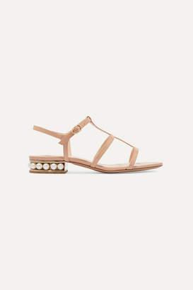 Nicholas Kirkwood Casati Embellished Patent-leather Sandals - Neutral