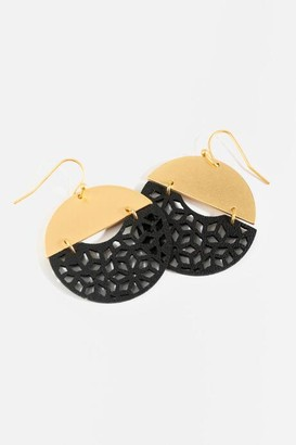 francesca's Nadia Leather Filigree Statement Earrings - Black