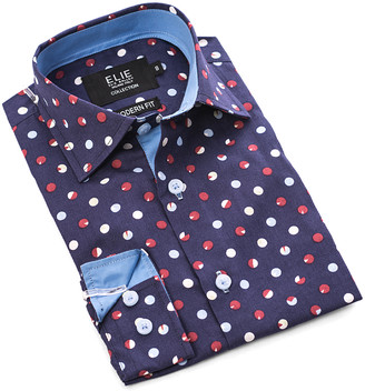 Elie Balleh Boys' Button Down Shirts NAVY - Navy Polka Dot Button-Up - Toddler & Boys