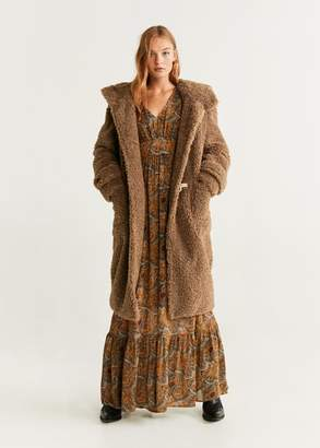 MANGO Faux shearling long coat caramel - XXS - Women