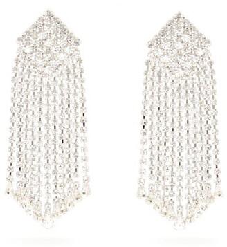 Alessandra Rich Crystal-cascade Square Clip Earrings - Womens - Crystal