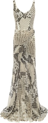 Roberto Cavalli Wrap-effect Silk Chiffon-layered Snake-print Stretch-crepe Gown