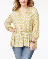 Melissa McCarthy Trendy Plus Size Printed Peasant Top