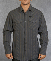 Rebel Spirit Charcoal Stripe Dagger Snake Embroidery Button-Up - Men's Regular
