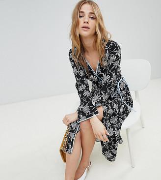 Miss Selfridge Floral Print Wrap Front Midi Dress-Multi
