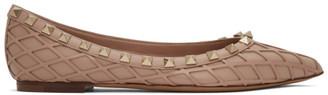 Valentino Pink Garavani Lattice Rockstud Ballerina Flats