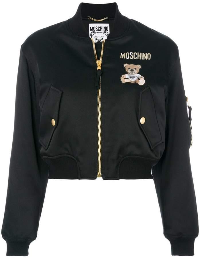 Moschino Teddy Bear cropped bomber jacket