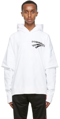 DSQUARED2 White Flash Logo Layered Hoodie