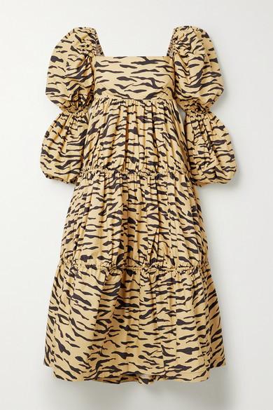 REJINA PYO Nola Tiered Tiger-print Cotton-poplin Midi Dress - Sand