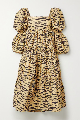 REJINA PYO Nola Tiered Tiger-print Cotton-poplin Midi Dress - Sand