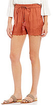 Angie Embroidered Scalloped Hem Soft Shorts