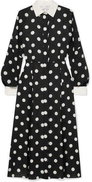 Andrew Gn Polka-dot Silk-georgette Dress - Black