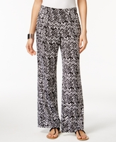 NY Collection Petite Printed Wide-Leg Soft Pants