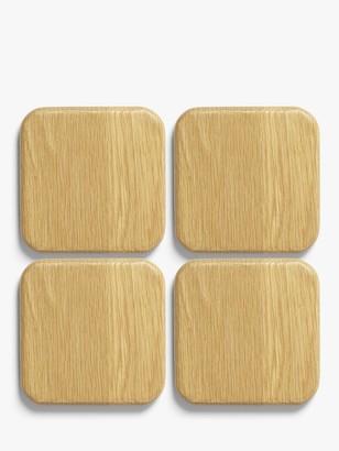 John Lewis & Partners Solid Oak Wood Coasters, Set of 4, Natural