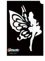Glimmer Body Art Glitter Tattoo Stencils - Dancing Fairy (5/pack)