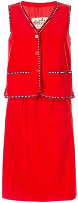 Hermes Pre-Owned Arrow Piping Ribbed Skirt And Vest Set
