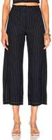 Alexander Wang Cotton Burlap High Waisted Cropped Pant in Blue,Stripes.