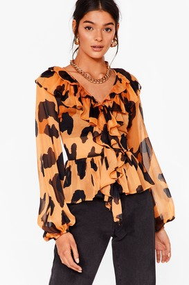 Nasty Gal Womens Leopard It Before Chiffon Ruffle Blouse - Brown