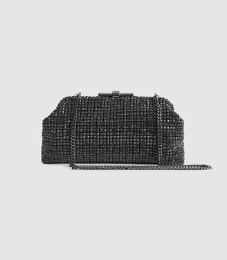 Reiss Adaline - Embellished Clutch in Gunmetal