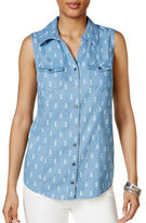 Style And Co. Sleeveless Pineapple-Print Denim Shirt
