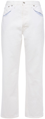 Maison Margiela Cutout Stripe-trimmed High-rise Straight-leg Jeans