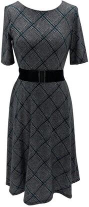 Sandra Darren Elbow Sleeve Hacci Knit Midi Dress