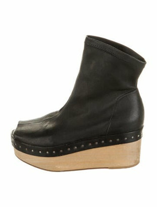 Rick Owens Leather Studded Accents Boots Black