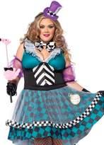 Leg Avenue Women's Plus-Size 4 Piece Manic Mad Hatter, Black/Blue
