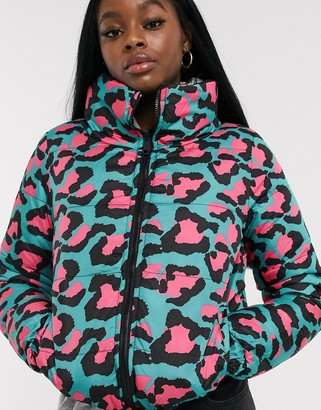 Brave Soul winnie reversible neon animal print puffer jacket