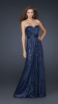 La Femme Dazzling Sparkling Gown with Ribboned Waist 17059
