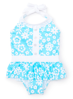 Pink Platinum Turquoise & White Floral Skirted One-Piece - Toddler