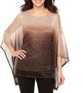 Onyx Nites 3/4 Sleeve Cold Shoulder Ombre Blouse