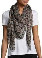 Saint Laurent Anemone-Print Cashmere & Silk Scarf