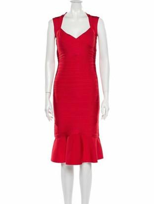 Herve Leger V-Neck Knee-Length Dress w/ Tags Red