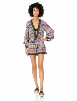 Anne Cole Studio Women's Long Sleeve Cover Up Romper Dress