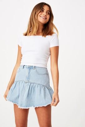 Supre Ruffle Denim Mini Skirt