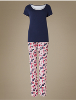 M&S Collection Pure Cotton Printed Short Sleeve Pyjamas