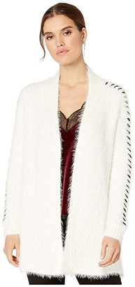 1 STATE 1.STATE Whipstitch Eyelash Open Front Cardigan (Antique White) Women's Sweater