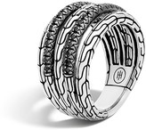 John Hardy Classic Chain Silver Lava Five Row Ring with Black Sapphire & Black Spinel