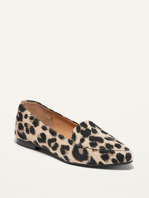 Old Navy Leopard-Print Canvas Pointed-Toe Loafers