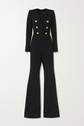 Balmain Button-embellished Wool-twill Jumpsuit - Black
