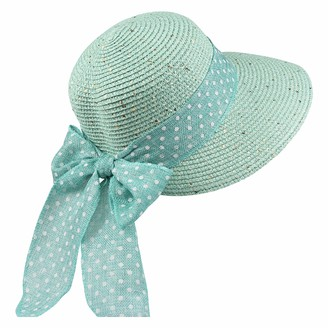 By Neki Womens Straw Sun Hat Foldable Adjustable Polka Dot Bow Hat Band Wide Brim Floppy Summer Beach Hat Bow Knot Sun Visor UK (Teal)